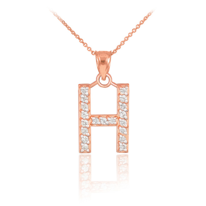 "Rose Gold Letter ""H"" Diamond Initial Pendant Necklace"