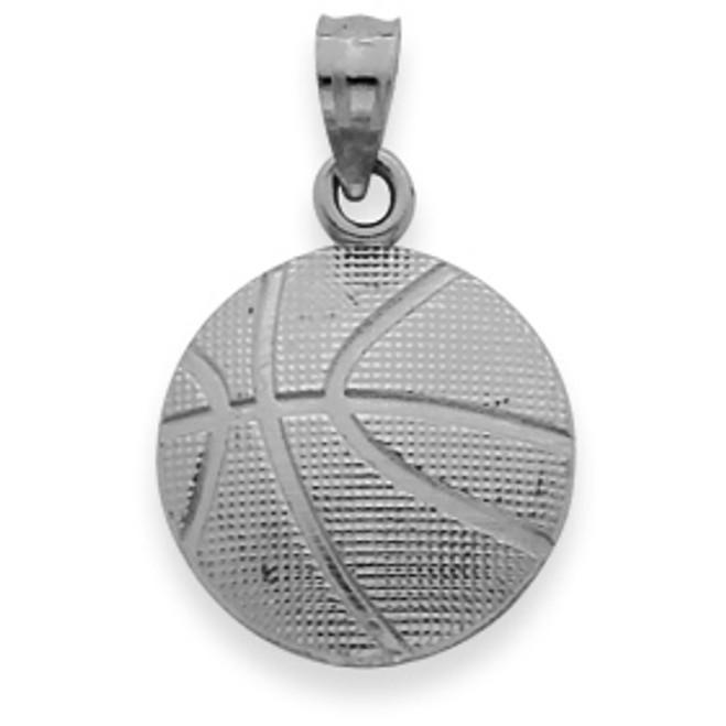 White Gold  Basketball  Pendant