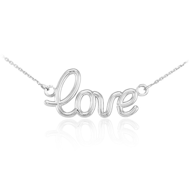 "14K White Gold ""Love"" Script Necklace"