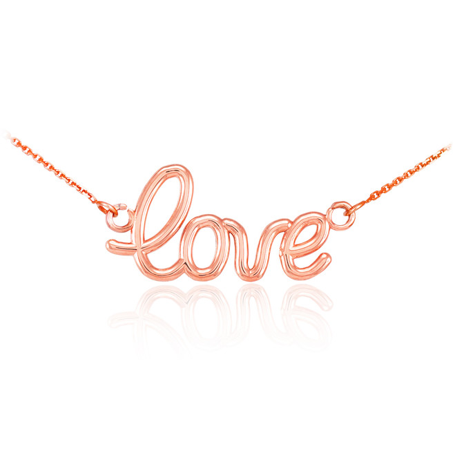 "14K Rose Gold ""Love"" Script Necklace"