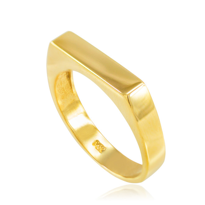 Gold Stackable Unisex Signet Ring