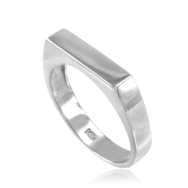 White Gold Stackable Unisex Signet Ring