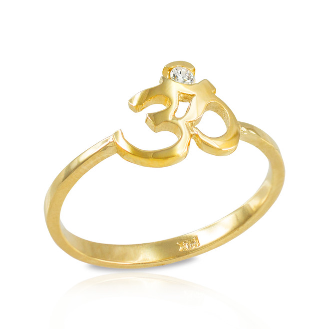 Dainty Gold Om (aum) Diamond Ring