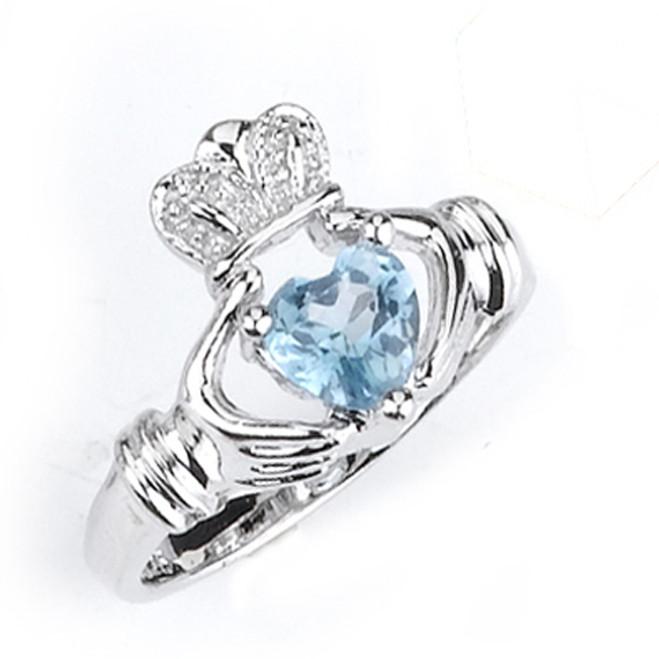 Sterling Silver December Birthstone Claddagh Ring