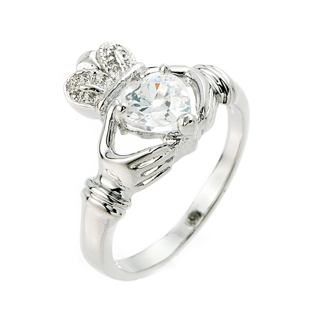 Sterling Silver CZ Claddagh Ladies Ring