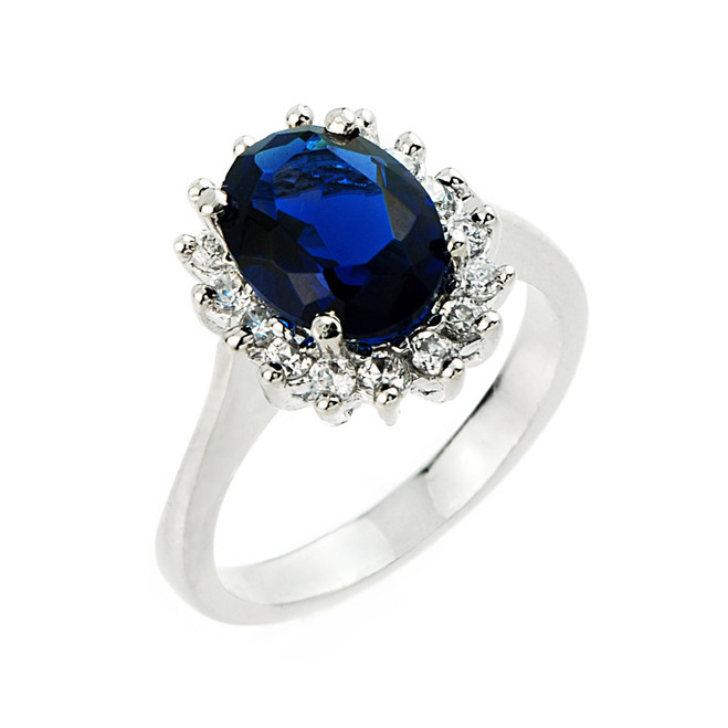 Sterling Silver Ladies (LCS) Sapphire and CZ Gemstone Ring