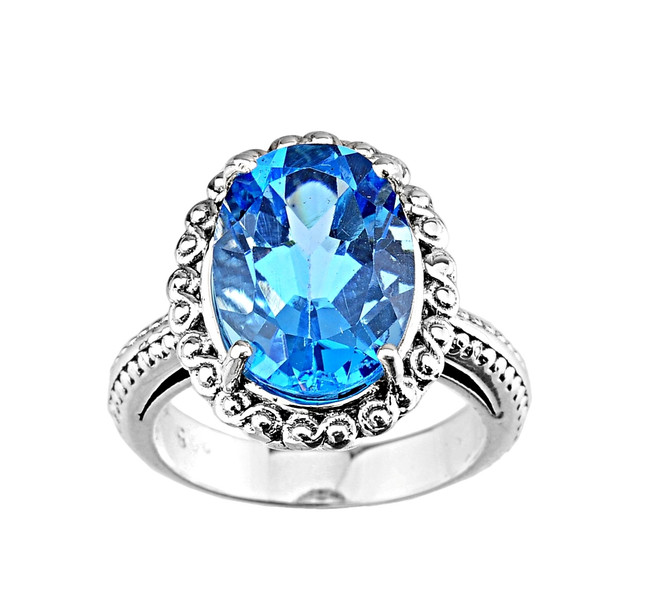 Sterling Silver (LC) Blue Topaz Ladies Ring
