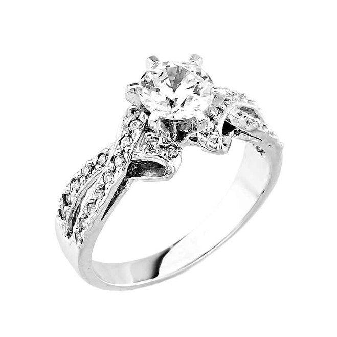 White Gold Round CZ Solitaire Engagement Ring