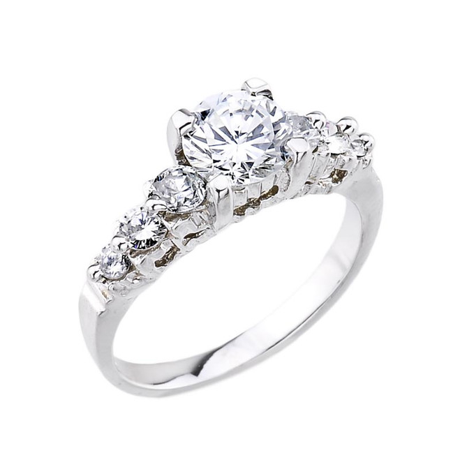 White Gold C.Z. Solitaire Engagement Ring