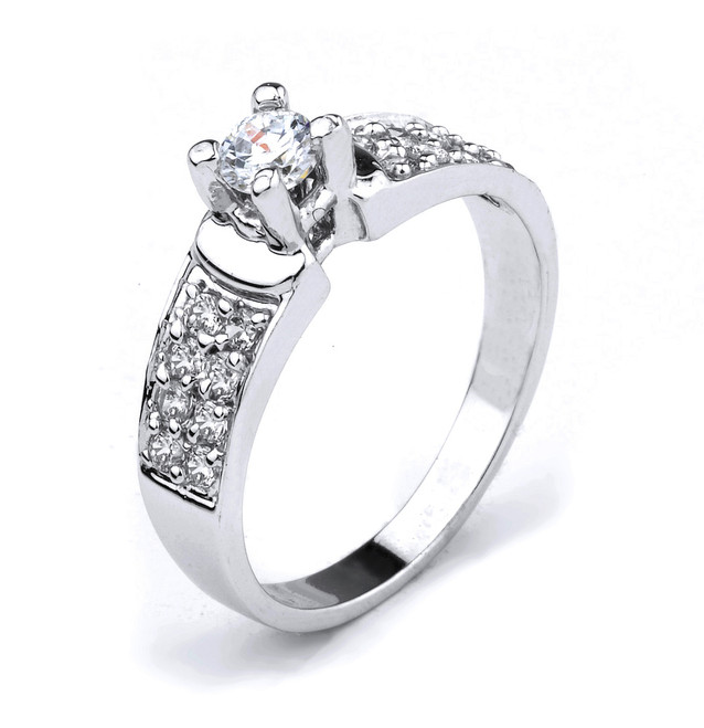 14K White Gold Round CZ Solitaire Engagement Ring