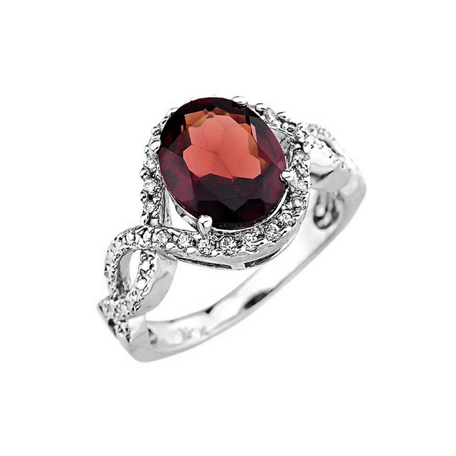 White Gold Garnet Gemstone ring