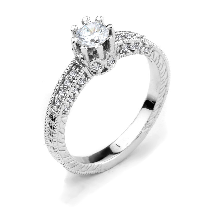14k White Gold Round C.Z. Solitaire Engagement Ring
