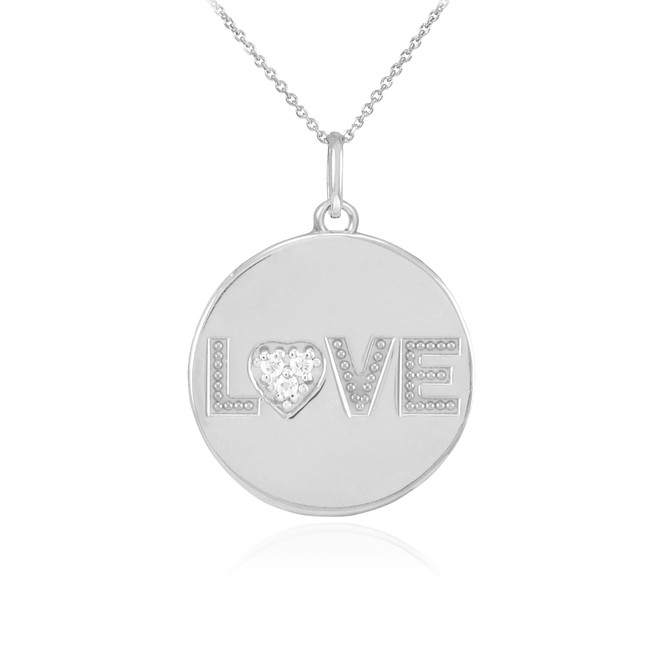 "14K White Gold ""LOVE"" Script Diamond Disc Pendant Necklace"