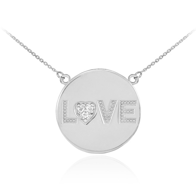"14K White Gold ""LOVE"" Script Diamond Disc Necklace"