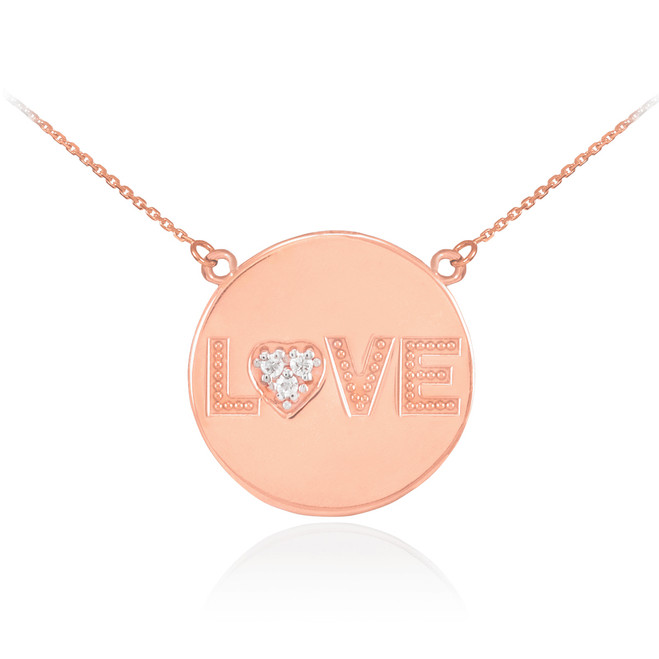 "14K Rose Gold ""LOVE"" Script Diamond Disc Necklace"