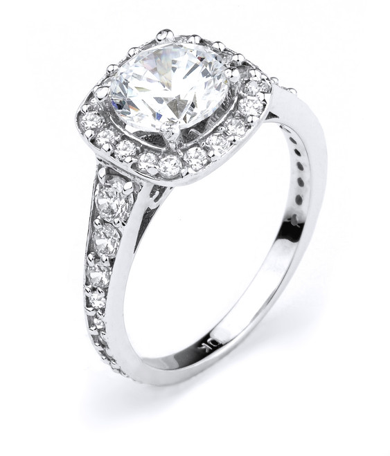 14k White Gold CZ Micro Pave Engagement Halo Ring