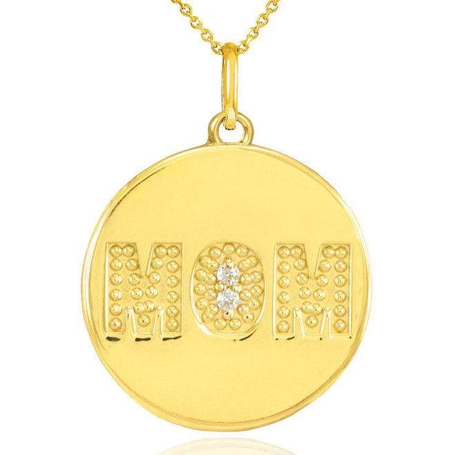 "14K Gold ""MOM"" Script Diamond Disc Pendant Necklace"