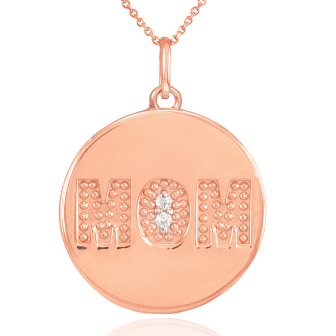 "14K Rose Gold ""MOM"" Script Diamond Disc Pendant Necklace"