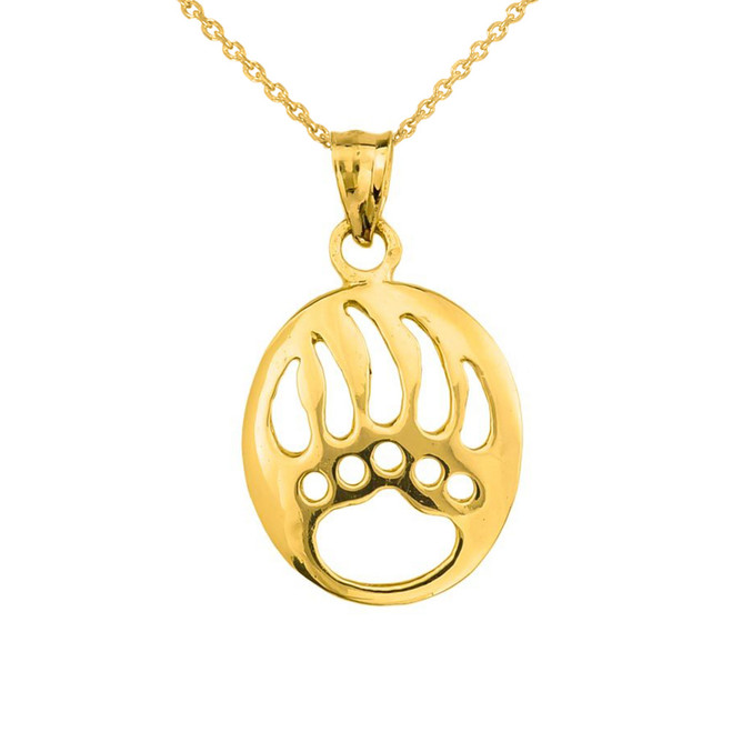 Yellow Gold  Gold Bear Paw Print Pendant