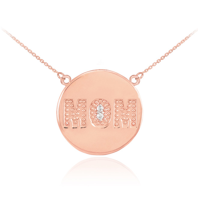 "14K Rose Gold ""MOM"" Script Diamond Disc Necklace"