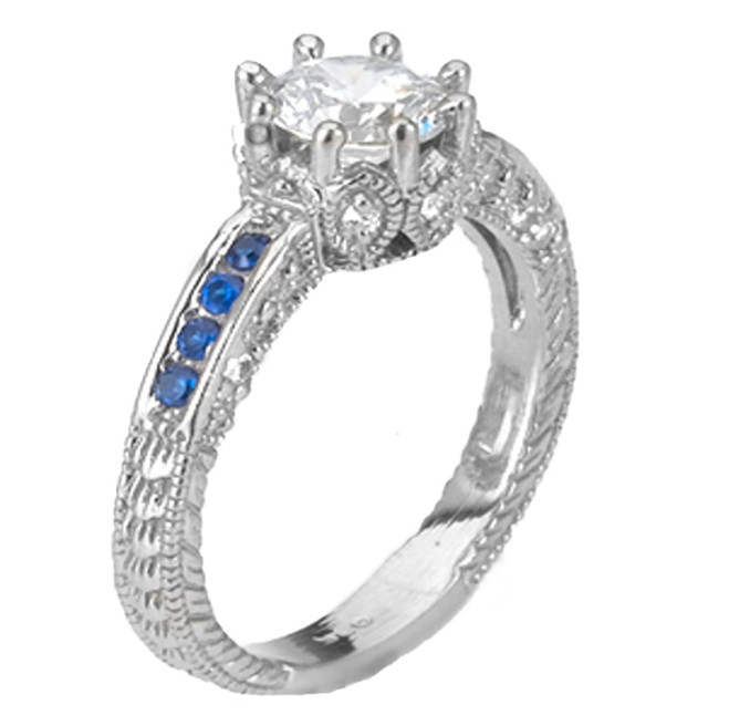 14k White Gold Art Deco CZ Solitaire Engagement Ring.