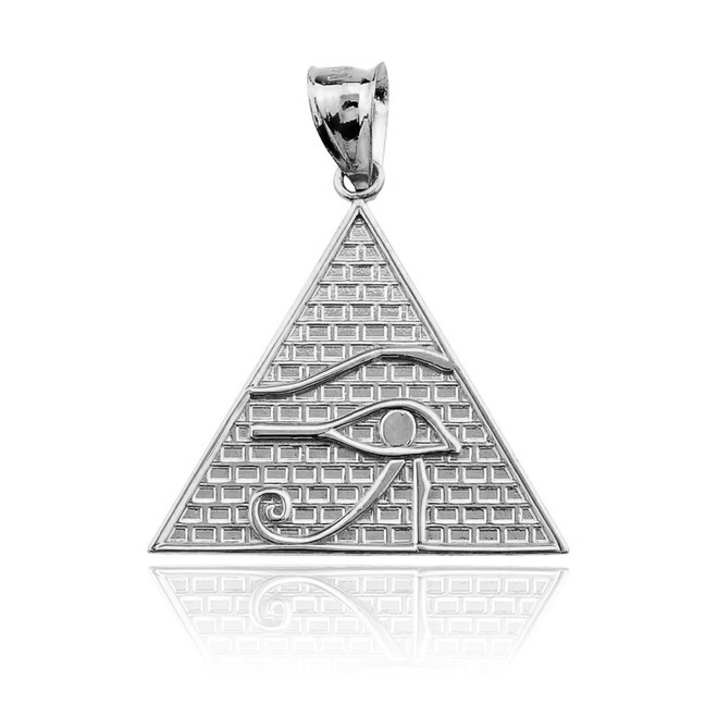 Sterling Silver Horus Eye Egyptian Pyramid Pendant