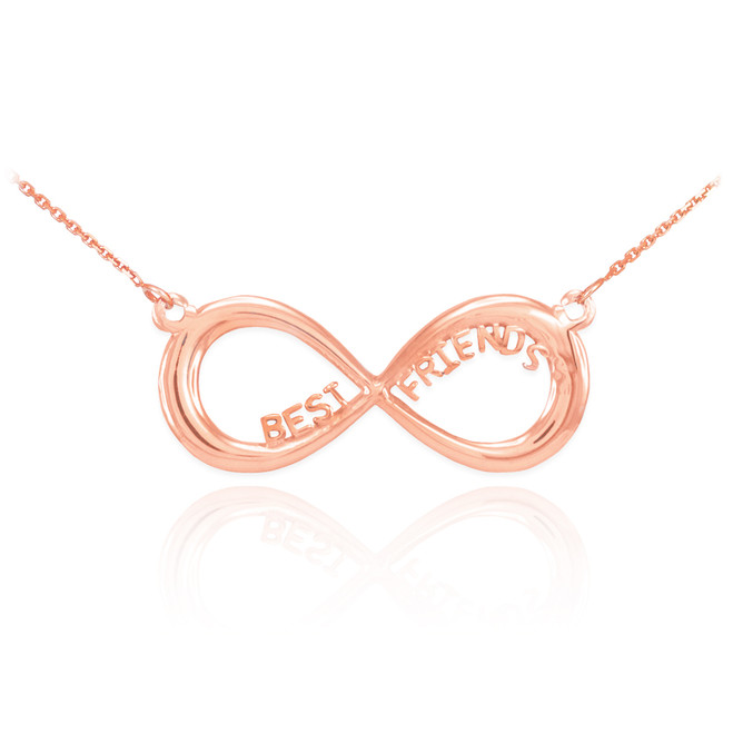 """14K Solid Rose Gold """"BEST FRIENDS"""" Infinity Necklace"""