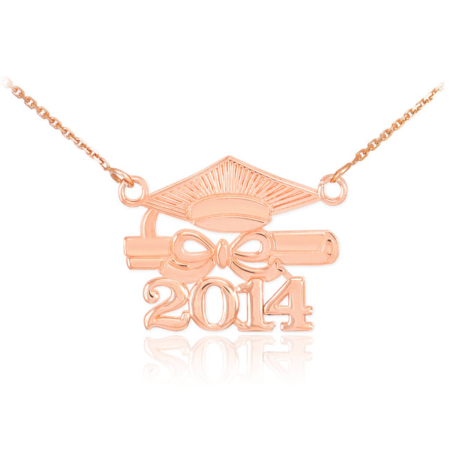 "14K Rose Gold ""CLASS OF 2014"" Graduation Pendant Necklace"
