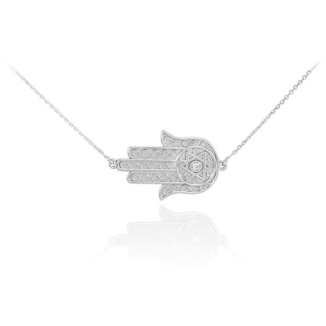 14K White Gold Sideways Hamsa Diamond Necklace