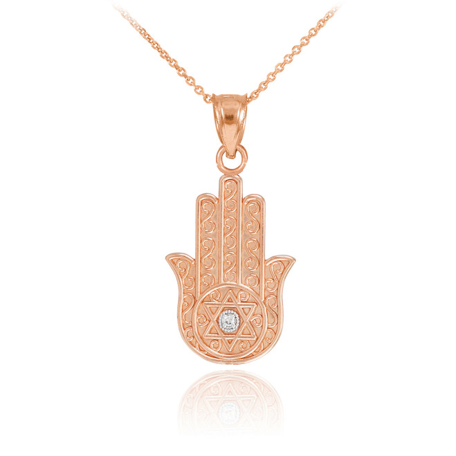 Rose gold diamond filigree hamsa pendant necklace hamsa jewish rose gold hamsa diamond pendant necklace aloadofball Gallery