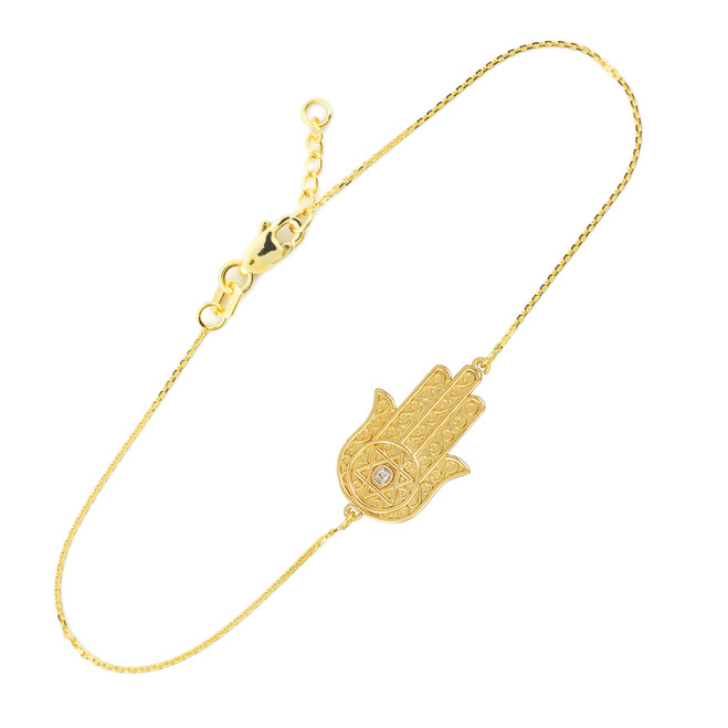 14K Solid Gold Hamsa Diamond Bracelet