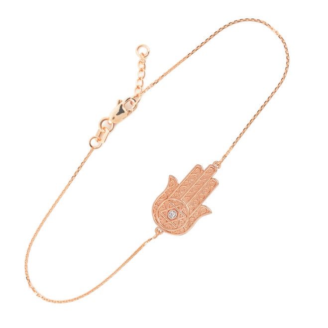 14K Solid Rose Gold Hamsa Diamond Bracelet