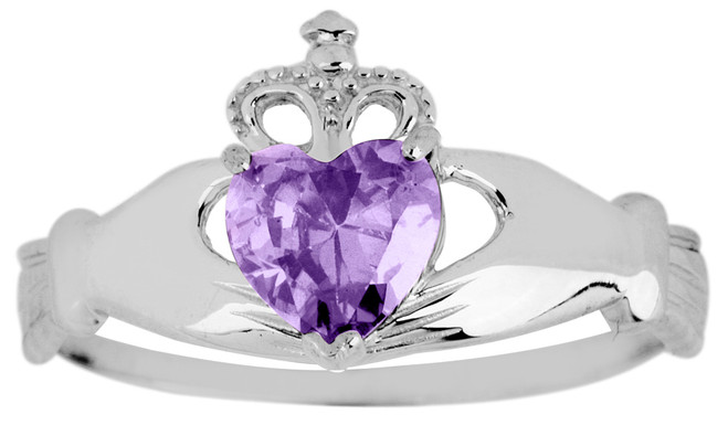 Silver Birthstone Claddagh Ring Amethyst