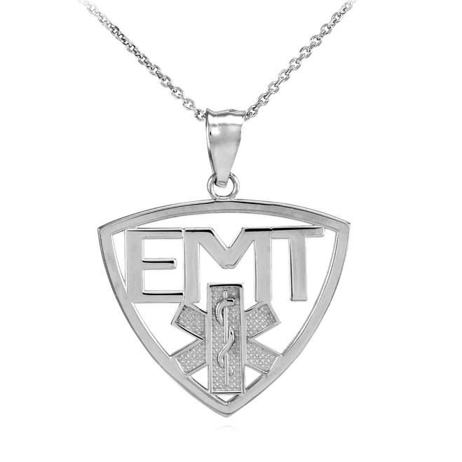 Polished Sterling Silver EMT Emergency Medical Technician Pendant Necklace