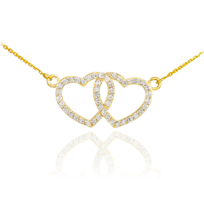 14K Gold Diamond Studded Double Heart Necklace 0.50ct