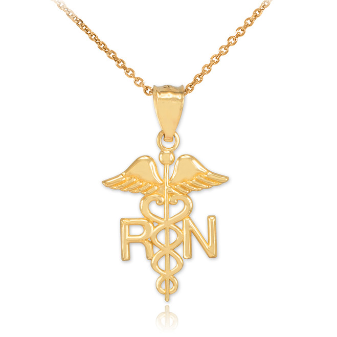 Gold Registered Nurse RN Medical Pendant Necklace