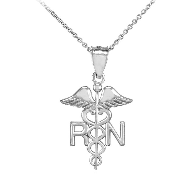White Gold Registered Nurse RN Medical Pendant Necklace