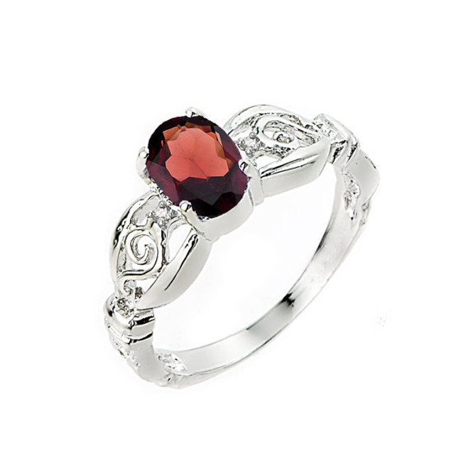10k White Gold January Birthstone Garnet Ring