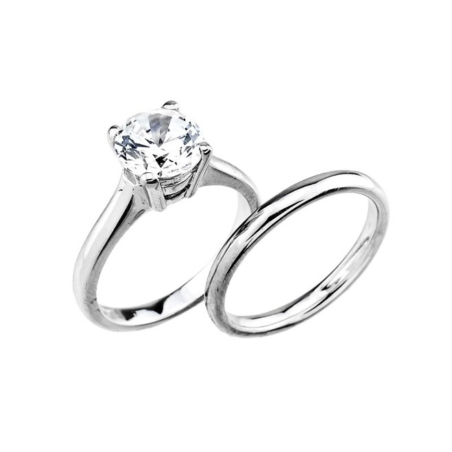 14k White Gold  Engagement Wedding Ring Set