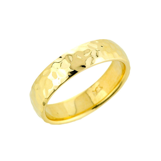 Gold Hammered Wedding Band