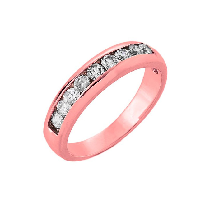14K Rose Gold Diamond Wedding Ring Band
