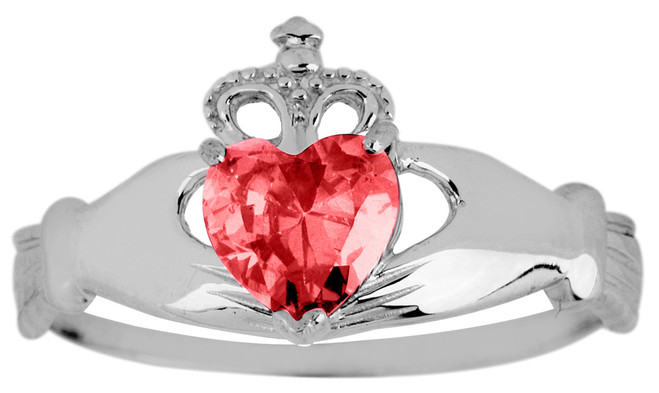 Silver Birthstone Claddagh Ring Ruby