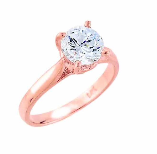 14k Rose Gold Round CZ Engagement Ring