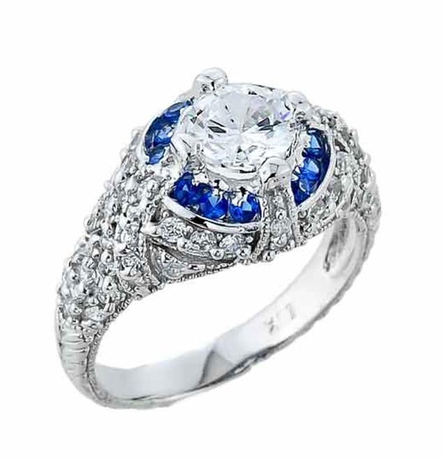 White Gold Art Deco Engagement Ring