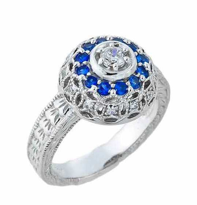 White Gold Art Deco Cubic Zirconia Engagement Ring