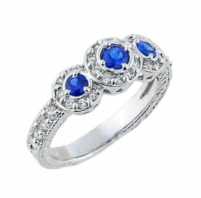 White Gold Art Deco Blue CZ Engagement Ring