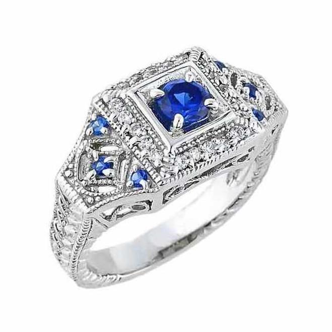White Gold Art Deco Blue CZ Engagement Ring (0.61 ct)