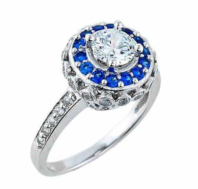 White Gold Art Deco CZ Engagement Ring