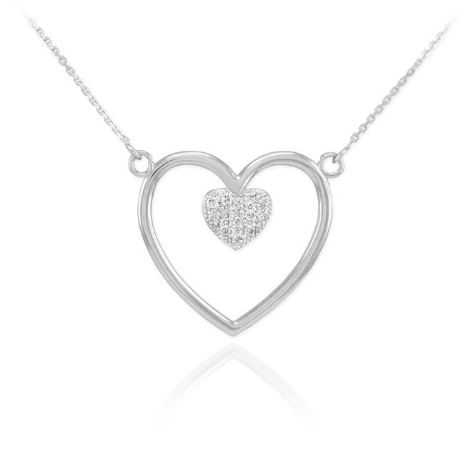 14K White Gold Open Heart Diamond Pave Heart Enclosure Necklace