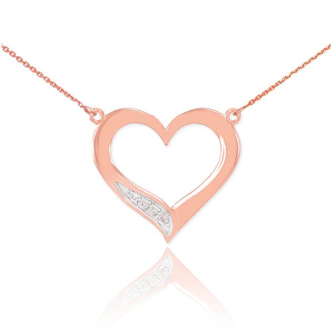 14K Rose Gold Open Heart Diamond Necklace